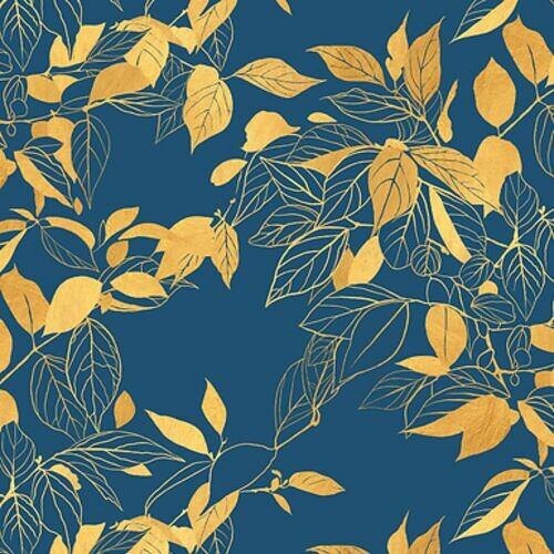 tapeta-scienna-zlote-liscie-niebieska-dekoracja-bielak-ziomka