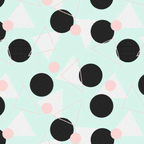 79eb35711391a4 Retro geometryczny wzór na błękitnym tle - Tapety flizelinowe ...