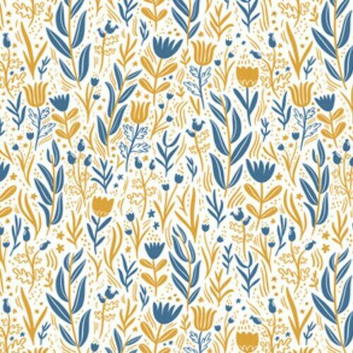 zlote-niebieskie-kwiaty-tapeta