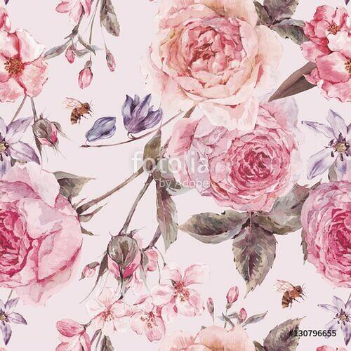 74367ec86dc27d Akwarelowe angielskie róże - Tapety samoprzylepne - Decor Mint