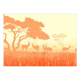 Vector illustration of wild animals in African savanna.