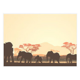 Horizontal illustration of wild animals in African sunset savann