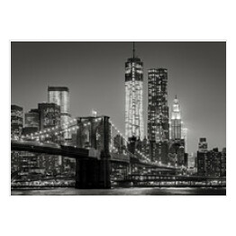 Nowy Jork nocą. Brooklyn Bridge, Lower Manhattan - Czarny an