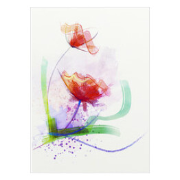 Abstract floral watercolor paintings.Red flowers in soft color on grunge paper background