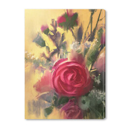 painting showing bouquet of beautiful pink roses