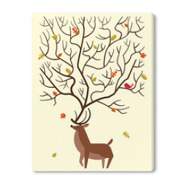Autumn card design with reindeer and fall leaves. Vector illustr