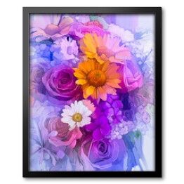Oil Painting - Still life of yellow, red and pink color flower. Colorful Bouquet of rose, daisy and gerbera flowers. Hand Paint floral Impressionist style.