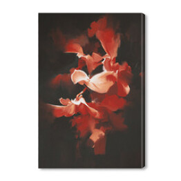 beautiful red flowers in dark background with oil painting style