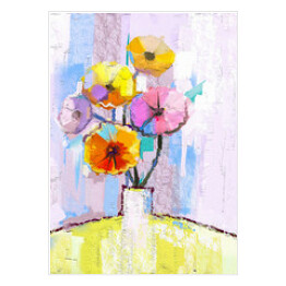 Abstract oil painting of spring flower. Still life of yellow, pink and red gerbera. Colorful Bouquet flowers in vase with light blue color background. Hand Painted floral modern Impressionist style