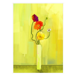 Abstract oil painting of spring flower. Still life of yellow, pink and red gerbera. Bouquet flowers in vase with light yellow-green color background. Hand Painted floral modern Impressionist style
