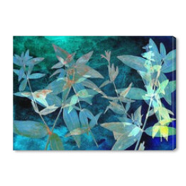 Abstract watercolor background and branch plant. Mixed media