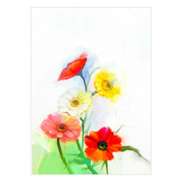 Abstract oil painting of spring flowers. Still life of yellow and red gerbera, poppy flower. Colorful Bouquet flowers with light green-blue color background. Hand Painted floral Impressionist style
