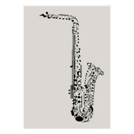 Music, saxophone made with musical symbols