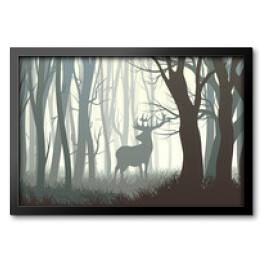 Horizontal illustration of wild elk in wood.