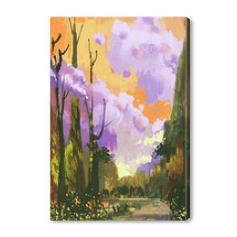 colorful landscape with sunset sky,illustration painting