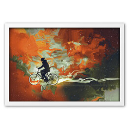 Silhouettes of man on bicycle in universe filled,illustration art