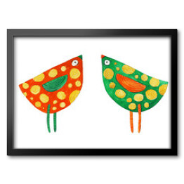 Red and green bird in spots. Watercolor illustration