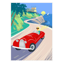 Summer road to the sea. The lake shore, the mountains. Holiday on the French Riviera, Liguria. Poster in the Art Deco