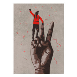 big hand in victory sign and man with arm raised,illustration painting