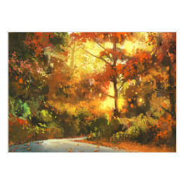 pathway through the colorful forest,autumn landscape painting,illustration