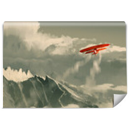 red biplane flying over mountain,illustration,digital painting