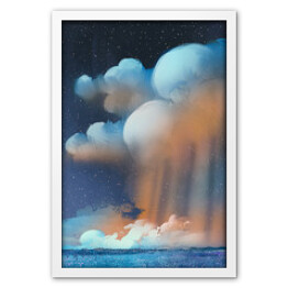 night scenery of big cumulonimbus clouds over field,landscape,illustration painting