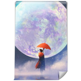woman with red umbrella standing on water against full moon background,illustration painting