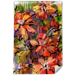 painting of colorful abstract flowers with watercolor style