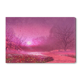 fantasy landscape with pink magical leaves,illustration painting