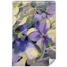 purple flowers with grunge texture in abstract painting style