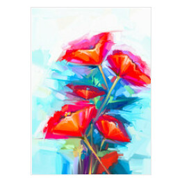 Abstract oil painting of spring flower. Still life of pink and red poppy. Colorful bouquet flowers with green and blue background. Hand Painted floral Impressionist style