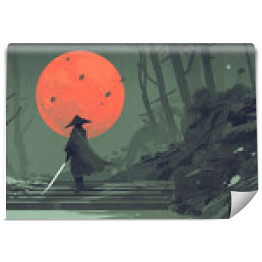 Samurai standing on stairway in night forest with the red moon on background,illustration painting