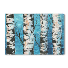 Birches against blue sky painted by acrilic. Landscape. Hand drawn illustration. Spring. Forest. Oil painted.