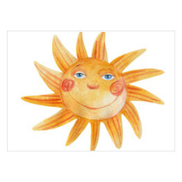 Sun is smiling. Watercolor illustration. Hand drawing