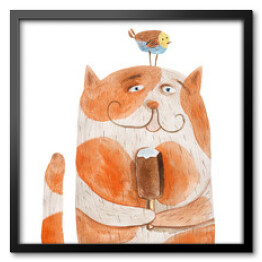 Cat with ice cream and bird on head. Watercolor illustration. Hand drawing
