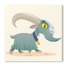 Cute cartoon goat running. Farm animals. Vector illustration of a grey goat with bell on a neck