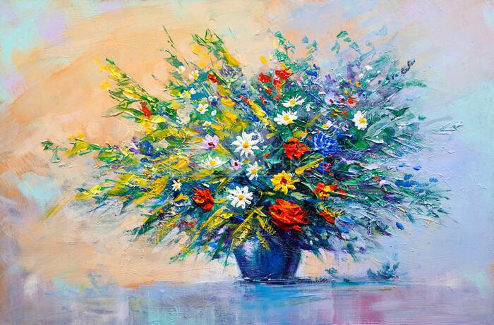 Kwiaty W Wazonie Malarstwo Olejne Na Płótnie Fototapeta Decor Mint