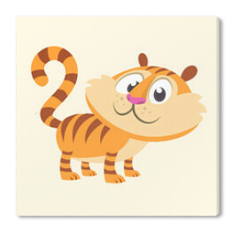 Cartoon tiger icon. Flat Bright Color Simplified Vector Illustration In Fun Cartoon Style Design. Isolated