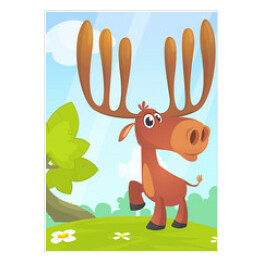 Cool carton moose. Vector illustration isolated of forest background. Poster design of sticker