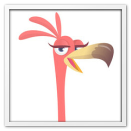 Cool carton pink flamingo bird. Vector illustration isolated. Poster design of sticker