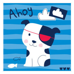 cute sailor dog animal vector illustration