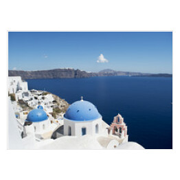 Santorini View with Blue Domes