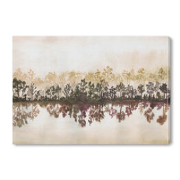 Hand drawn watercolor landscape of forest and reflection in the water. Illustration