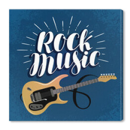 Rock music, banner. Guitar, musical instrument concept. Lettering vector illustration