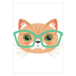 Cute cat wearing glasses, funny cartoon animal character vector illustration