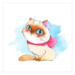 Cute cat. Watercolor sketch