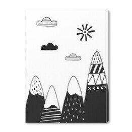 Cute hand drawn nursery poster with mountains in scandinavian style. Monochrome vector illustration