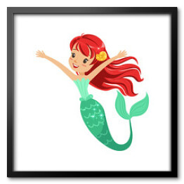 Cute red-haired mermaid girl isolated on white. Cartoon underwater character with shiny fish tail. Marine life concept. Flat design vector illustration