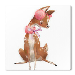 cute watercolor winter deer