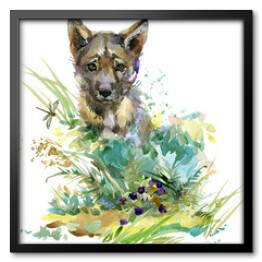 wolf cub. forest animals watercolor illustration.